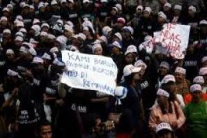 demo buruh rokok