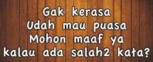 tidak ada ritual maaf-maafan menjelang ramadhan